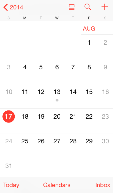 iOS Calendar, Apple iOS HIG